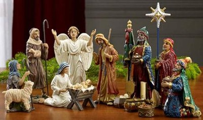Real-Life Nativity Figures, Set of 14, 7 size   -