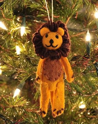 Felt Ornament Finger Puppet, Lion, Fair Trade Product  -