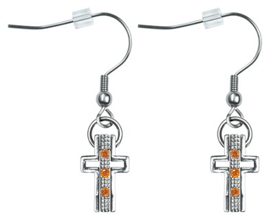 Trinity Cross Earrings, Topaz Crystals  -     By: Coleen Rossi