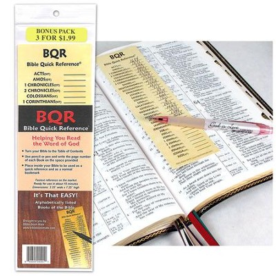 Basic Bible Reference Bookmark, Pack of 3   -