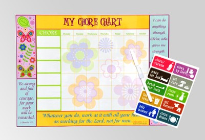Inspirational Chore Chart, Fancy Flowers  -
