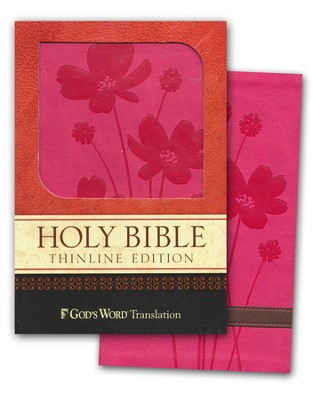 God's Word Thinline Bible, Imitation Leather, Rose/Brown, Flower Design  -
