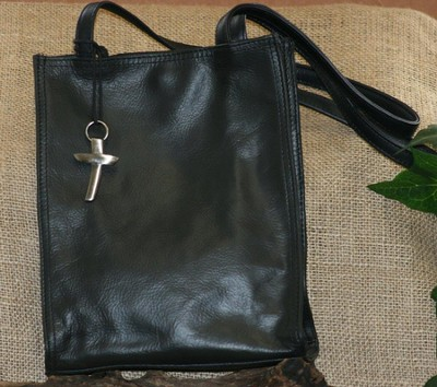 Genuine Leather Bible Tote, Black   -
