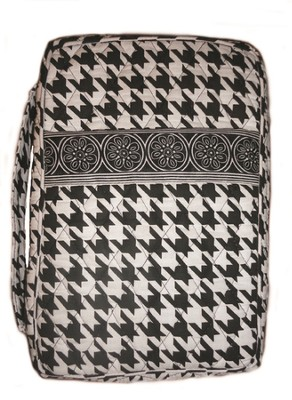 Quilted Bible Cover, Black and White, Medium  -