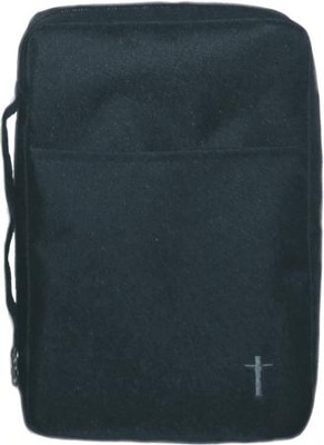 Embroidered Canvas Bible Cover, Black, Large  -