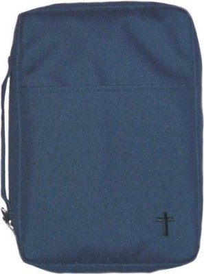 Embroidered Canvas Bible Cover, Navy, Medium  -