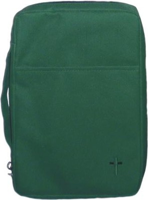 Embroidered Canvas Bible Cover, Green, Large  -