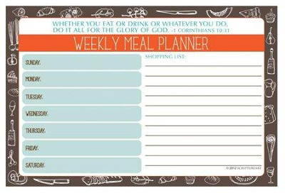 Do All to the Glory of God Menu Planner  -