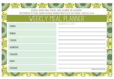 Taste and See What the Lord Has Done Menu Planner  -