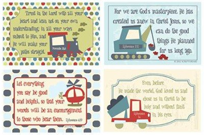 Self Worth Verses for Boys with Transportation Vehicles  Pack of 4  -