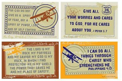 Self-Control Verses with Vintage Airplane Wall Cards, Pack of 4  -