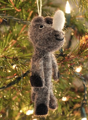 Felt Ornament Finger Puppet, Rhino, Fair Trade Product  -