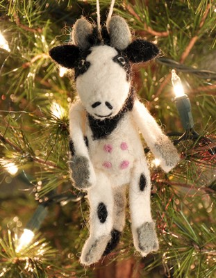 Felt Ornament Finger Puppet, Cow, Fair Trade Product  -