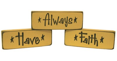 Always Have Faith Wood Plaques, Set of 3, Tan  -
