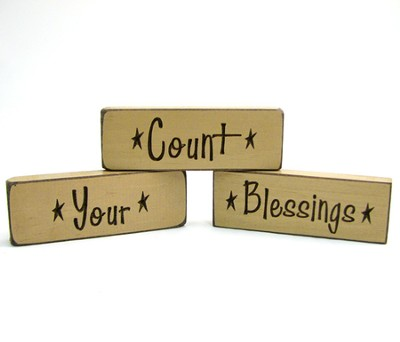 Count Your Blessings Wood Plaques, Set of 3, Natural Tan   -