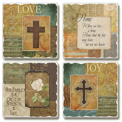 Tumbled Coasters, Life's Milestones, Set of 4  -