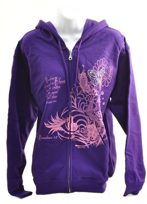 Rhinestone Butterfly Zippered Hoodie, Purple,  Large (42-44)  -