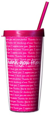 Thank You Friend Mug with Straw                        -