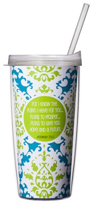 For I Know the Plans...Green & Blue Mug with Straw    -