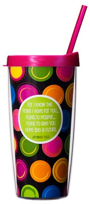For I Know the Plans..Multicolored Mug with Straw  Traveler Mug with Lid and Straw  -