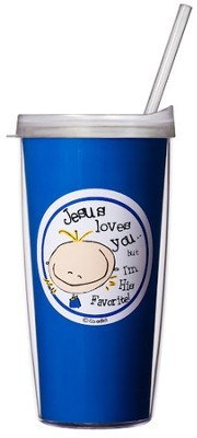 Jesus Loves You Mug with Straw                        -