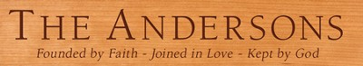 Personalized, Founded by Faith Long Desk Plaque, Cherry Wood  -