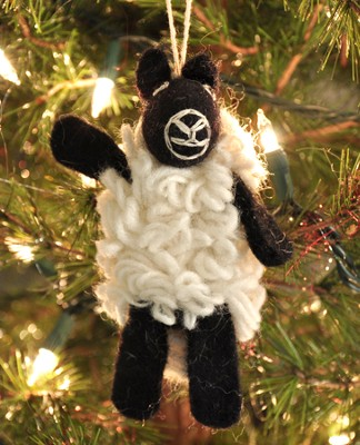 Felt Ornament Finger Puppet, Sheep, Fair Trade Product  -