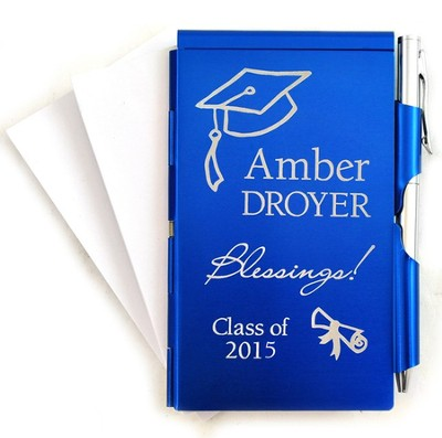 Personalized, Memo Holder With Pen, Graduation, Blue   -