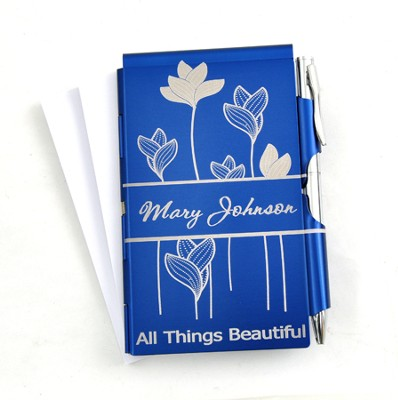 Personalized, All Things Beautiful Memo Holder With Pen, Blue  -