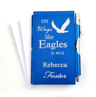 Personalized, Eagle's Wings Memo Holder With Pen, Blue  -