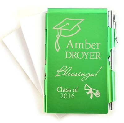Personalized, Graduation, Memo Holder With Pen, Green   -