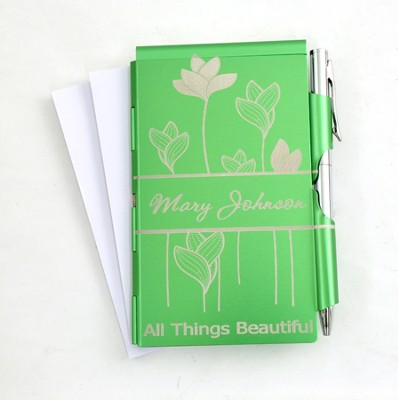 Personalized, All Things Beautiful Memo Holder With Pen, Green  -
