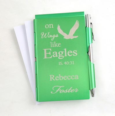 Personalized, Eagle's Wings Memo Holder With Pen, Green  -