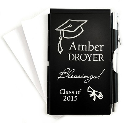 Personalized, Graduation, Memo Holder With Pen, Black   -