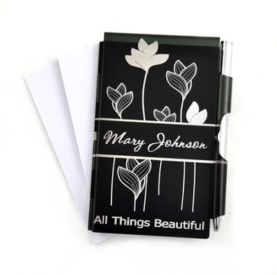 Personalized, All Things Beautiful Memo Pad, Black   -