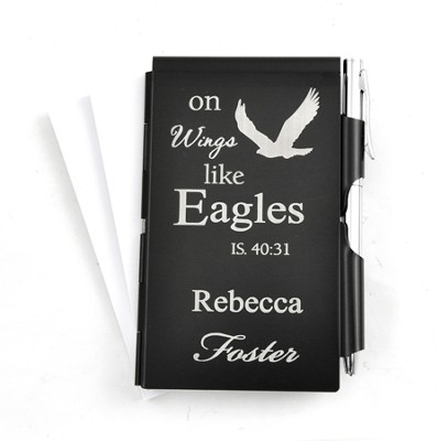 Personalized, Eagle's Wings Memo Holder With Pen, Black  -