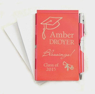 Personalized, Graduation, Memo Holder With Pen, Red   -