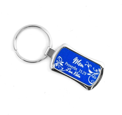 Personalized, Keychain, Proverbs 31:29, Blue   -