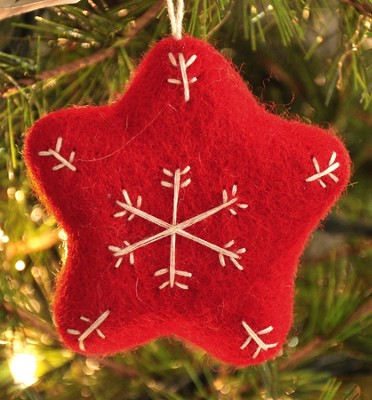 Snowflake Star Ornament, Red, Fair Trade Product  -