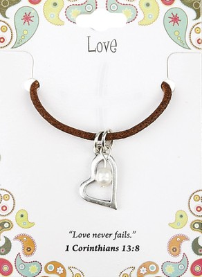 Love Leather Necklace, Heart Charm   -