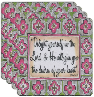 Delight Yourself in the Lord Coaster Set, Pink  -