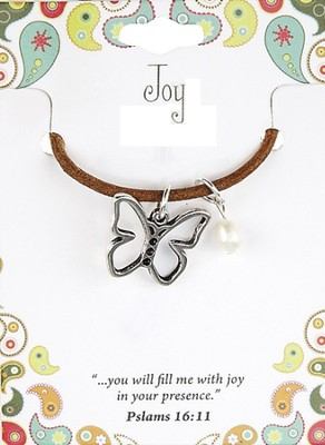 Joy Leather Necklace, Butterfly Charm   -