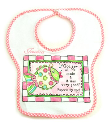 Personalized, God Saw All He Made Bib, Pink   -