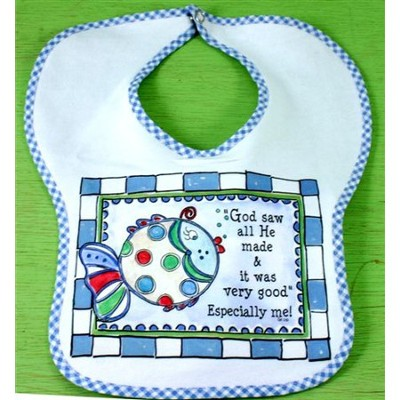 God Saw All He Made Bib, Blue  -