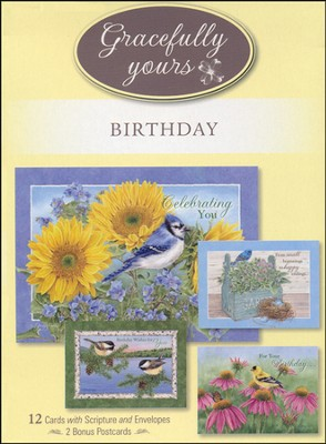 God's Serenity Birthday Cards, Box of 12   -     By: Jane Shasky