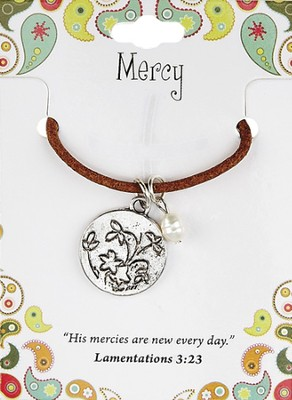 Mercy Leather Necklace, Flower Charm, Lamentations 3:23   -