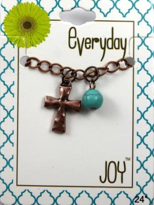 Hammered Cross, Copper Toned Necklace with Turquoise Bead  -