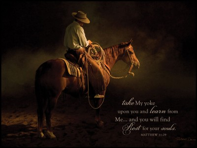 Taking A Break Cowboy, Take My Yoke, Matthew 11:29 Mounted Print  -     By: Robert Dawson