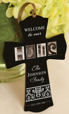Personalized, Home Cross Ornament, Welcome  -