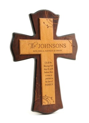Personalized, Family Blessing Print Cross, Cherry Wood   -